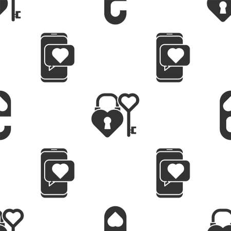 Set Please do not disturb with heart, Castle and key in heart shape and Online dating app and chat on seamless pattern. Vector