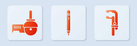 Set Pencil with eraser, Angle grinder and Clamp tool. White square button. Vector