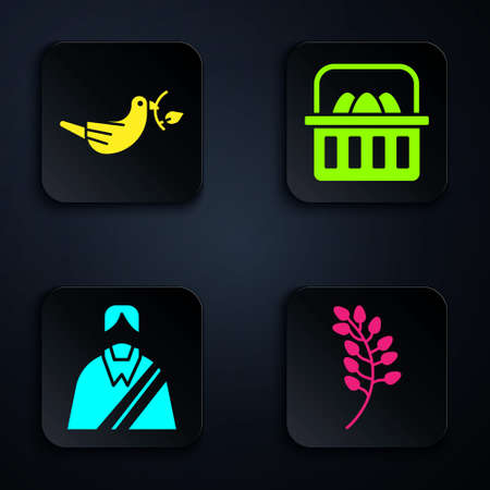Set Willow leaf, Peace dove with olive branch, Jesus Christ and Basket with easter eggs. Black square button. Vector