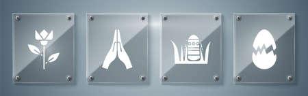 Set Broken egg, Easter egg, Hands in praying position and Flower tulip. Square glass panels. Vector