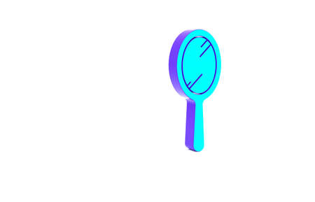 Turquoise Hand mirror icon isolated on white background. Minimalism concept. 3d illustration 3D render