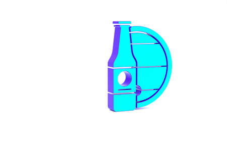 Turquoise Beer bottle and wooden barrel icon isolated on white background. Minimalism concept. 3d illustration 3D render