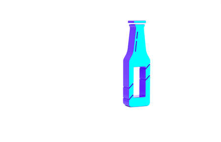 Turquoise Beer bottle icon isolated on white background. Minimalism concept. 3d illustration 3D render Standard-Bild