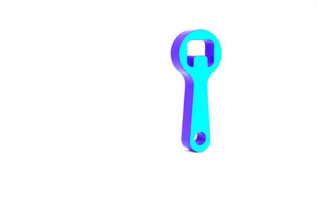 Turquoise Bottle opener icon isolated on white background. Minimalism concept. 3d illustration 3D render