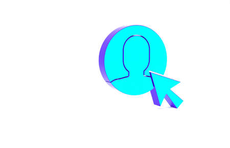 Turquoise User of man in business suit icon isolated on white background. Business avatar symbol - user profile icon. Male user sign. Minimalism concept. 3d illustration 3D render