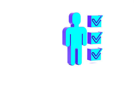 Turquoise User of man in business suit icon isolated on white background. Business avatar symbol user profile icon. Male user sign. Minimalism concept. 3d illustration 3D render
