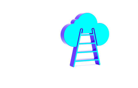 Turquoise Ladder leading to cloud icon isolated on white background. Stairs leading to the cloud. Minimalism concept. 3d illustration 3D render