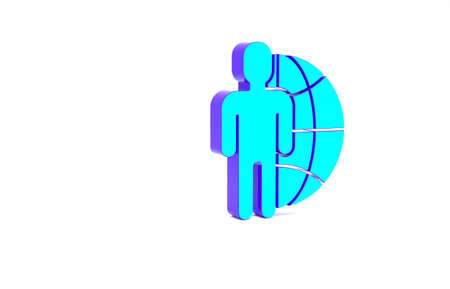 Turquoise Globe and people icon isolated on white background. Global business symbol. Social network icon. Minimalism concept. 3d illustration 3D render Foto de archivo