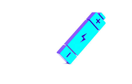 Turquoise Battery icon isolated on white background. Lightning bolt symbol. Minimalism concept. 3d illustration 3D render