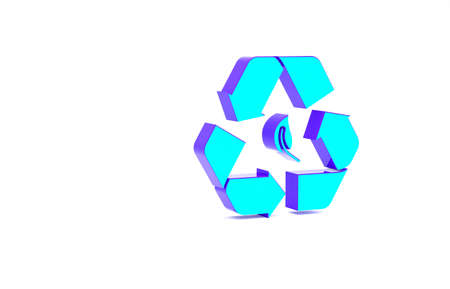 Turquoise Recycle symbol and leaf icon isolated on white background. Environment recyclable go green. Minimalism concept. 3d illustration 3D render