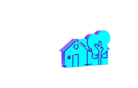 Turquoise Eco friendly house icon isolated on white background. Eco house with tree. Minimalism concept. 3d illustration 3D render