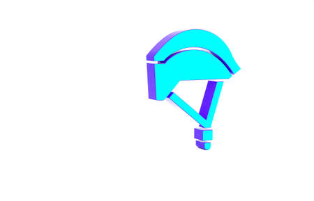 Turquoise Bicycle helmet icon isolated on white background. Extreme sport. Sport equipment. Minimalism concept. 3d illustration 3D render