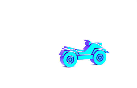 Turquoise All Terrain Vehicle or ATV motorcycle icon isolated on white background. Quad bike. Extreme sport. Minimalism concept. 3d illustration 3D render Zdjęcie Seryjne