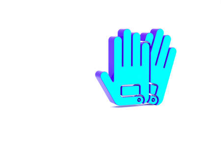 Turquoise Gloves icon isolated on white background. Extreme sport. Sport equipment. Minimalism concept. 3d illustration 3D render