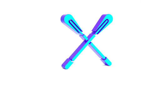 Turquoise Crossed paddle icon isolated on white background. Paddle boat oars. Minimalism concept. 3d illustration 3D render