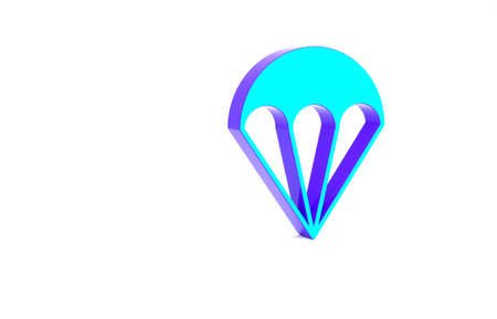 Turquoise Parachute icon isolated on white background. Extreme sport. Sport equipment. Minimalism concept. 3d illustration 3D render