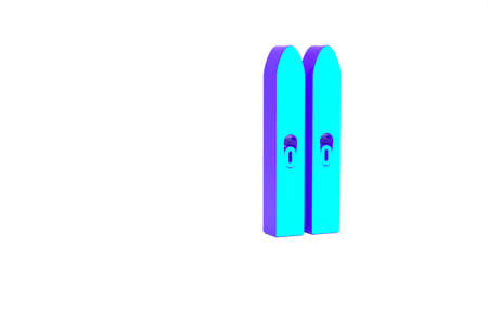 Turquoise Ski and sticks icon isolated on white background. Extreme sport. Skiing equipment. Winter sports icon. Minimalism concept. 3d illustration 3D render Zdjęcie Seryjne
