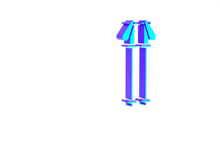 Turquoise Ski poles icon isolated on white background. Extreme sport. Skiing equipment. Winter sports icon. Minimalism concept. 3d illustration 3D render