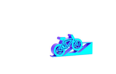 Turquoise Bicycle on street ramp icon isolated on white background. Skate park. Extreme sport. Sport equipment. Minimalism concept. 3d illustration 3D render