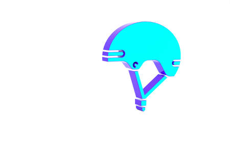 Turquoise Helmet icon isolated on white background. Extreme sport. Sport equipment. Minimalism concept. 3d illustration 3D render