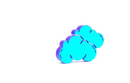 Turquoise Cloud icon isolated on white background. Minimalism concept. 3d illustration 3D render