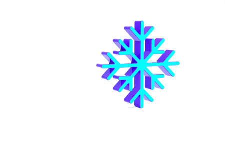 Turquoise Snowflake icon isolated on white background. Minimalism concept. 3d illustration 3D render