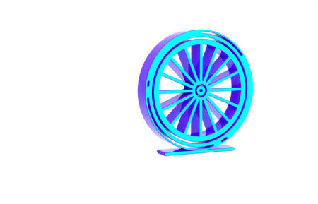 Turquoise Bicycle wheel icon isolated on white background. Bike race. Extreme sport. Sport equipment. Minimalism concept. 3d illustration 3D render Zdjęcie Seryjne