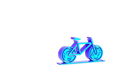 Turquoise Bicycle icon isolated on white background. Bike race. Extreme sport. Sport equipment. Minimalism concept. 3d illustration 3D render Zdjęcie Seryjne