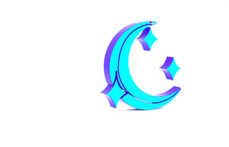 Turquoise Moon and stars icon isolated on white background. Minimalism concept. 3d illustration 3D render