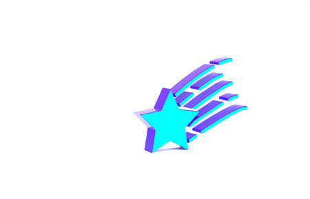 Turquoise Falling star icon isolated on white background. Shooting star with star trail. Meteoroid, meteorite, comet, asteroid, star icon. Minimalism concept. 3d illustration 3D render Banque d'images