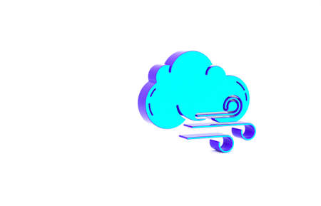 Turquoise Windy weather icon isolated on white background. Cloud and wind. Minimalism concept. 3d illustration 3D render Zdjęcie Seryjne