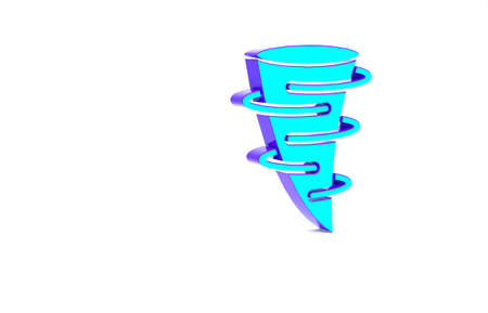 Turquoise Tornado icon isolated on white background. Minimalism concept. 3d illustration 3D render Zdjęcie Seryjne