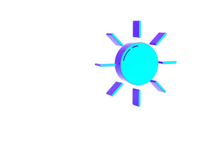 Turquoise Sun icon isolated on white background. Minimalism concept. 3d illustration 3D render Standard-Bild