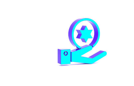 Turquoise Jewish coin on hand icon isolated on white background. Currency symbol. Minimalism concept. 3d illustration 3D render