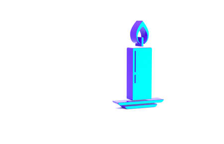 Turquoise Burning candle in candlestick icon isolated on white background. Old fashioned lit candle. Cylindrical candle stick with burning flame. Minimalism concept. 3d illustration 3D render