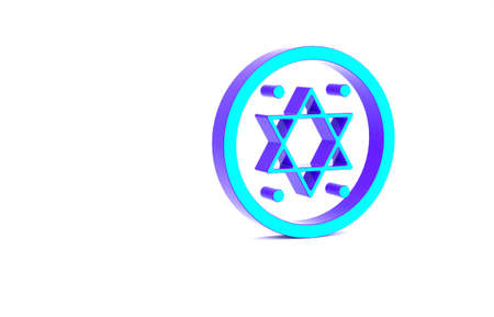 Turquoise Jewish coin icon isolated on white background. Currency symbol. Minimalism concept. 3d illustration 3D render