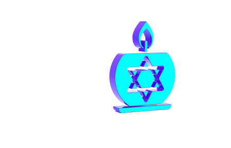 Turquoise Burning candle in candlestick with star of david icon isolated on white background. Cylindrical candle stick with burning flame. Minimalism concept. 3d illustration 3D render