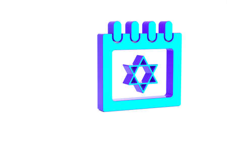 Turquoise Jewish calendar with star of david icon isolated on white background. Hanukkah calendar day. Minimalism concept. 3d illustration 3D render