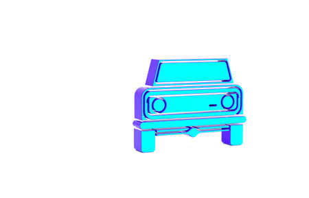 Turquoise Off road car icon isolated on white background.    Minimalism concept. 3d illustration 3D render Zdjęcie Seryjne