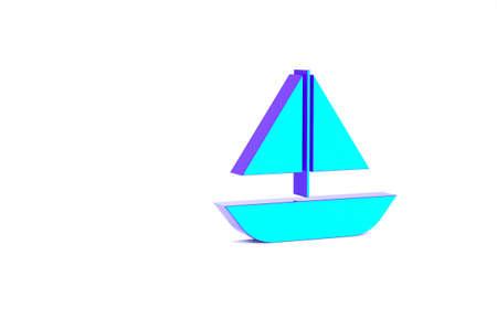 Turquoise Yacht sailboat or sailing ship icon isolated on white background. Sail boat marine cruise travel. Minimalism concept. 3d illustration 3D render Zdjęcie Seryjne