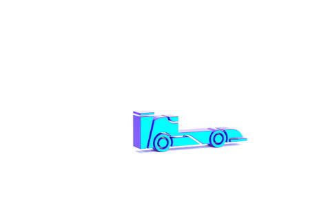 Turquoise Formula race car icon isolated on white background. Minimalism concept. 3d illustration 3D render