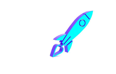 Turquoise Rocket ship with fire icon isolated on white background. Space travel. Minimalism concept. 3d illustration 3D render Banco de Imagens