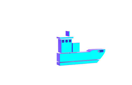 Turquoise Cargo ship icon isolated on white background. Minimalism concept. 3d illustration 3D render