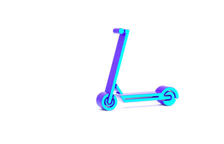 Turquoise Scooter icon isolated on white background. Minimalism concept. 3d illustration 3D render