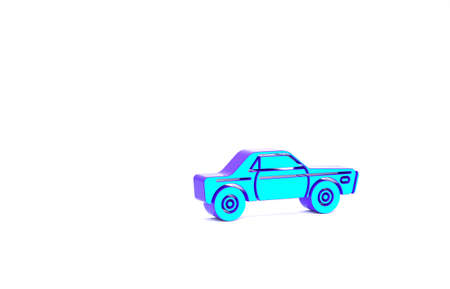 Turquoise Sedan car icon isolated on white background. Minimalism concept. 3d illustration 3D render