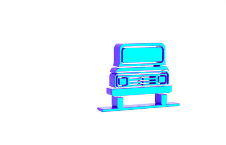 Turquoise Car icon isolated on white background. Front view. Minimalism concept. 3d illustration 3D render