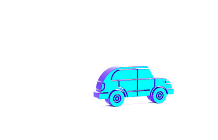 Turquoise Hatchback car icon isolated on white background. Minimalism concept. 3d illustration 3D render