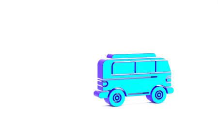 Turquoise Retro minivan icon isolated on white background. Old retro classic traveling van. Minimalism concept. 3d illustration 3D render Zdjęcie Seryjne