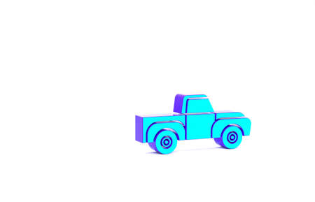Turquoise Pickup truck icon isolated on white background. Minimalism concept. 3d illustration 3D render
