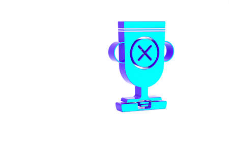 Turquoise Award cup icon isolated on white background. Winner trophy symbol. Championship or competition trophy. Sports achievement sign. Minimalism concept. 3d illustration 3D render 版權商用圖片